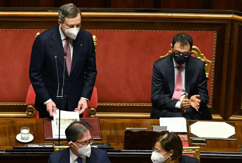 Italian Prime Minister Mario Draghi addresses his Senate.