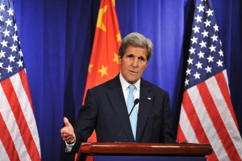 Then-U.S. secretary of state John Kerry delivers a speech in Beijing.