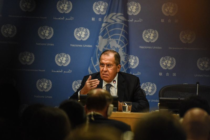 Russian Foreign Minister Sergey Lavrov speaks to press at the United Nations.