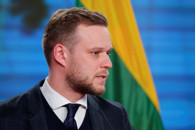 Lithuanian Foreign Minister Gabrielius Landsbergis addresses the media at a press conference.