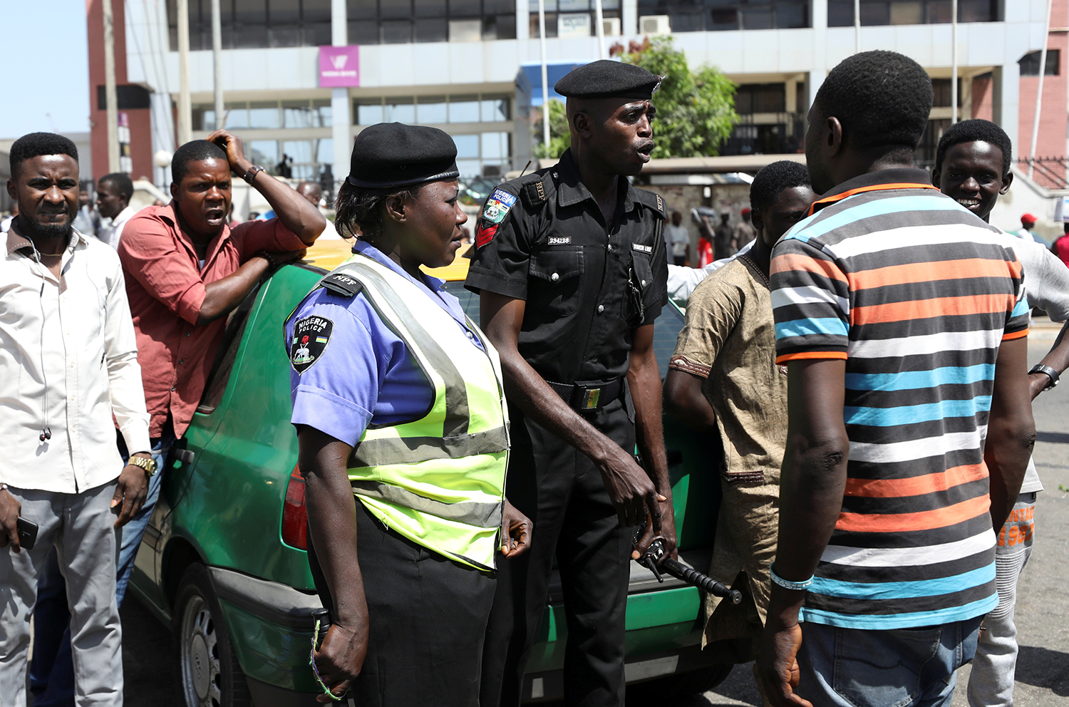 Taxi drivers protest against the Joint Task force in Abuja, Nigeria