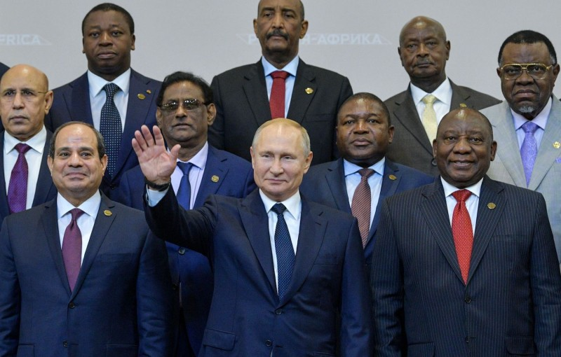 Russian and African presidents pose at a Russia-Africa summit.