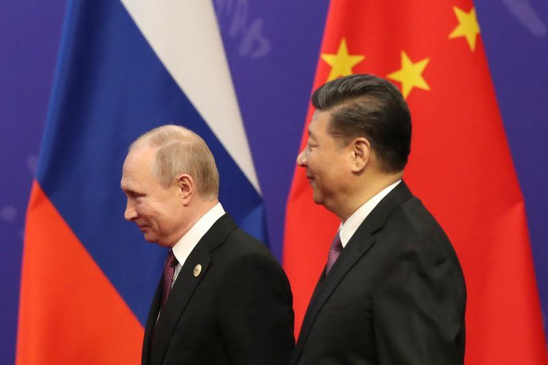 Russian President Vladimir Putin and Chinese President Xi Jinping meet.
