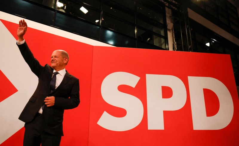 The Social Democrats' candidate for German chancellor, Olaf Scholz