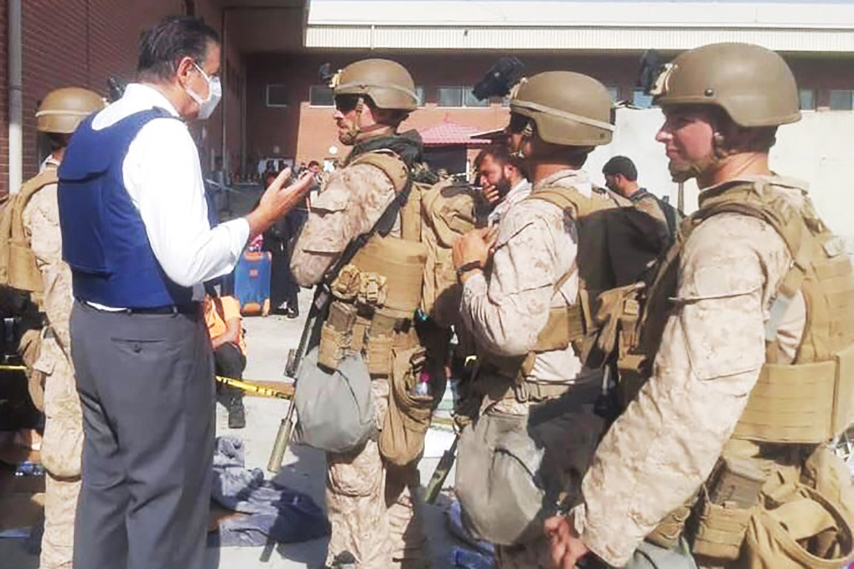 Italian Amb. Stefano Pontecorvo at the Kabul airport on Aug. 25.