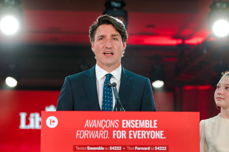 Canadian Prime Minister Justin Trudeau (center) delivers his victory speech after general elections at the Queen Elizabeth Hotel in Montreal on Sept. 21.