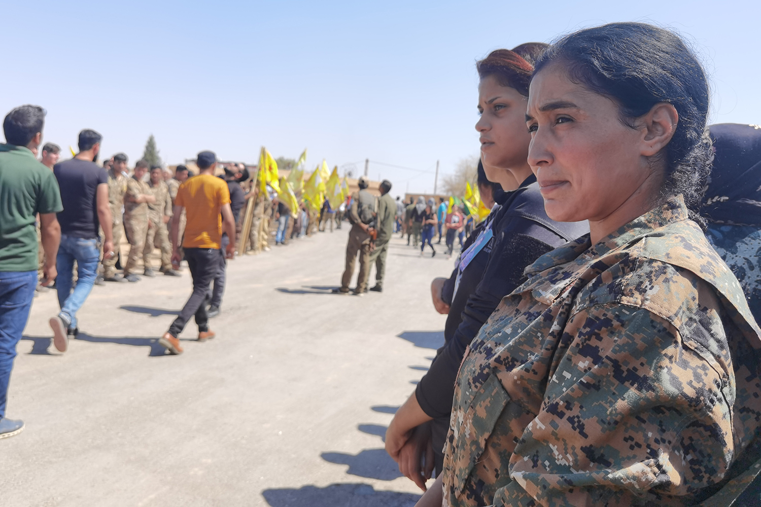 Serekaniye attends the funeral of her commander, Sosin Ahmed, in northeast Syria in Aug. 22. Ahmed was killed in a drone strike about a week before Serekaniye was killed.