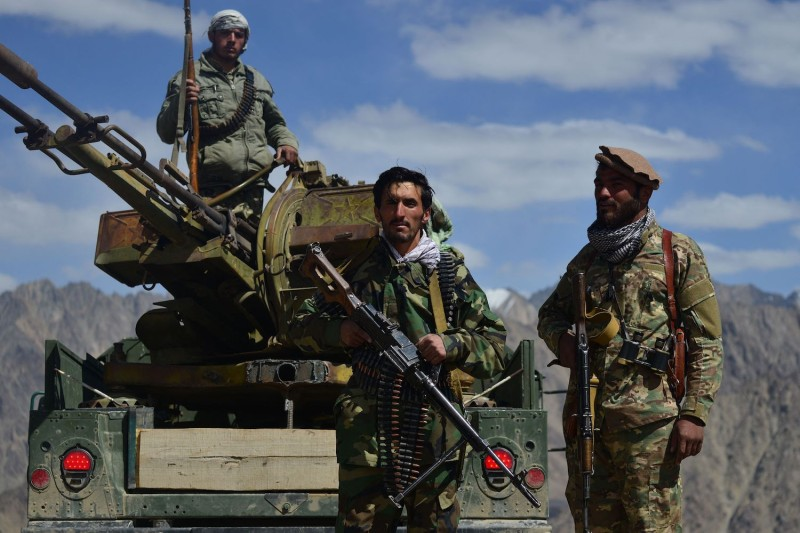 Afghan resistance and anti-Taliban fighters stand guard in Afghanistan's Panjshir province on Aug. 23.