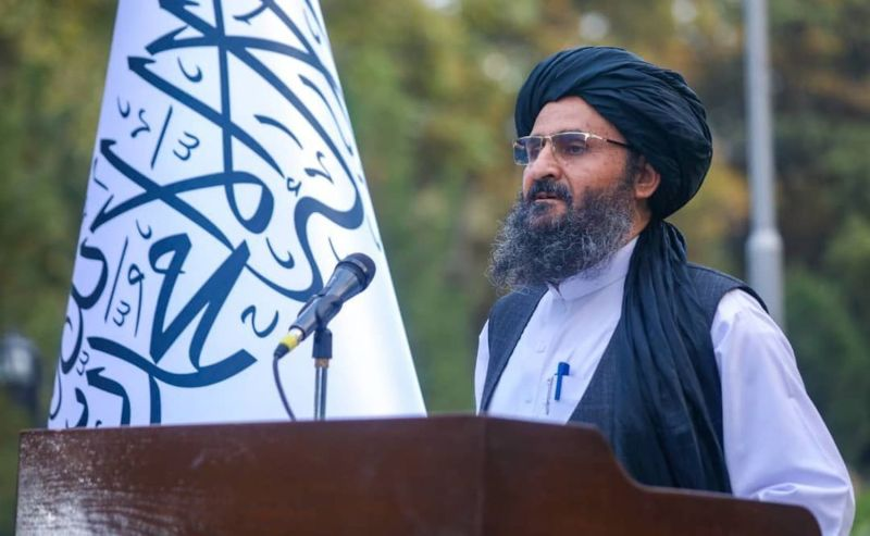 Abdul Ghani Baradar, the deputy prime minister of the Taliban interim government, meets with foreign diplomatic representatives  in Kabul on Sept. 30.