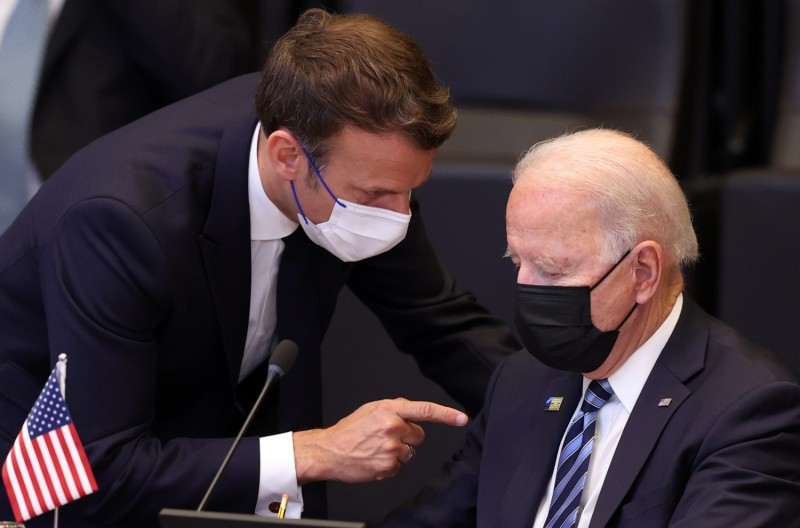 Biden and Macron at NATO in Brussels