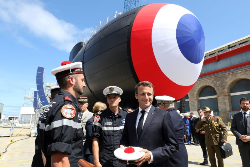 Macron at nuclear submarine launch ceremony in France
