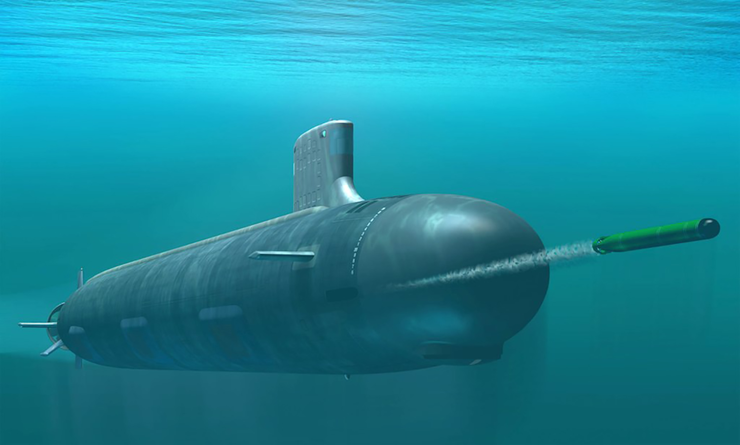 A conceptual drawing shows the Virginia-class attack submarine then under construction at General Dynamics Electric Boat in Groton, Conn., and Northrop Grumman Newport News Shipbuilding in Newport News, Virginia, as envisioned during development in 2003.