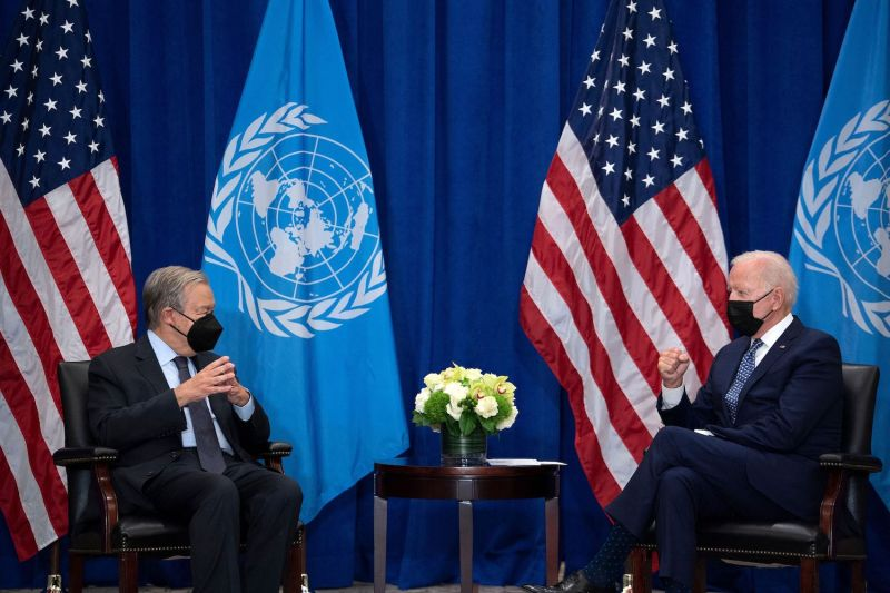 U.S. President Joe Biden and U.N. Secretary-General António Guterres hold a bilateral meeting on the sidelines of the U.N. General Assembly in New York on Sept. 20.