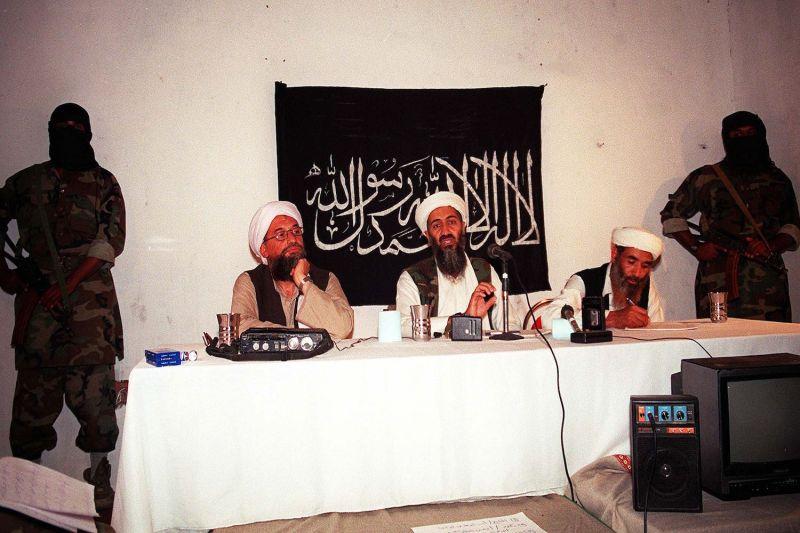 Osama bin Laden holds a press conference.