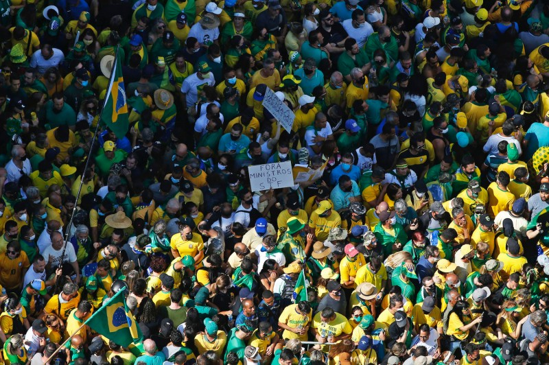 An aerial view of a demonstration to support Brazilian President Jair Bolsonaro in Sao Paulo, Brazil, on Sept. 7.
