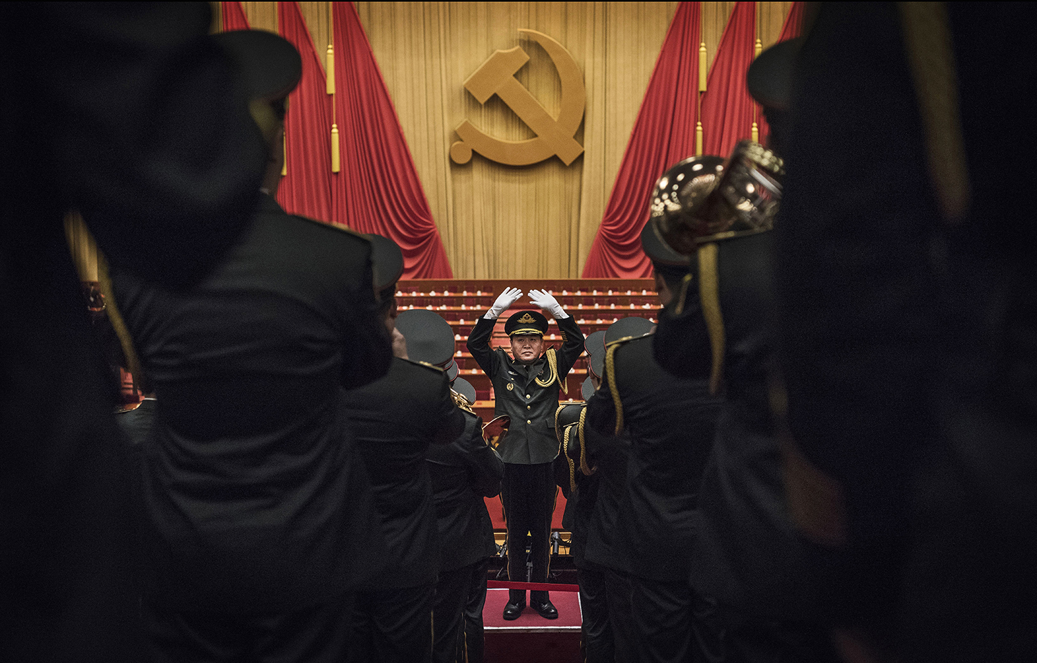 A Chinese military band plays