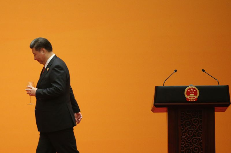 Chinese President Xi Jinping leaves after making a toast during a welcome banquet for the Belt and Road Forum at the Great Hall of the People in Beijing on May 14, 2017. Wu Hong/Getty Images