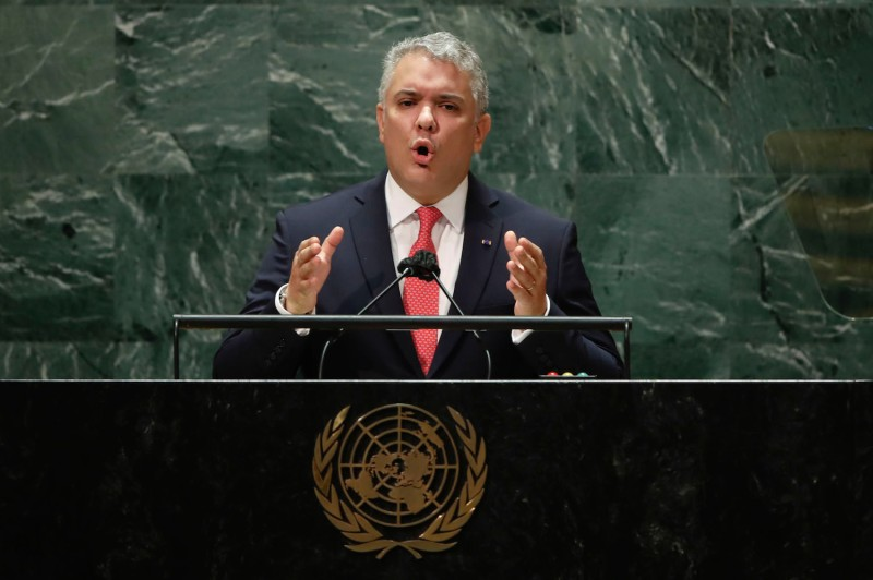 Colombian President Ivan Duque addresses the 76th Session of the U.N. General Assembly at the U.N. headquarters in New York on Sept. 21.