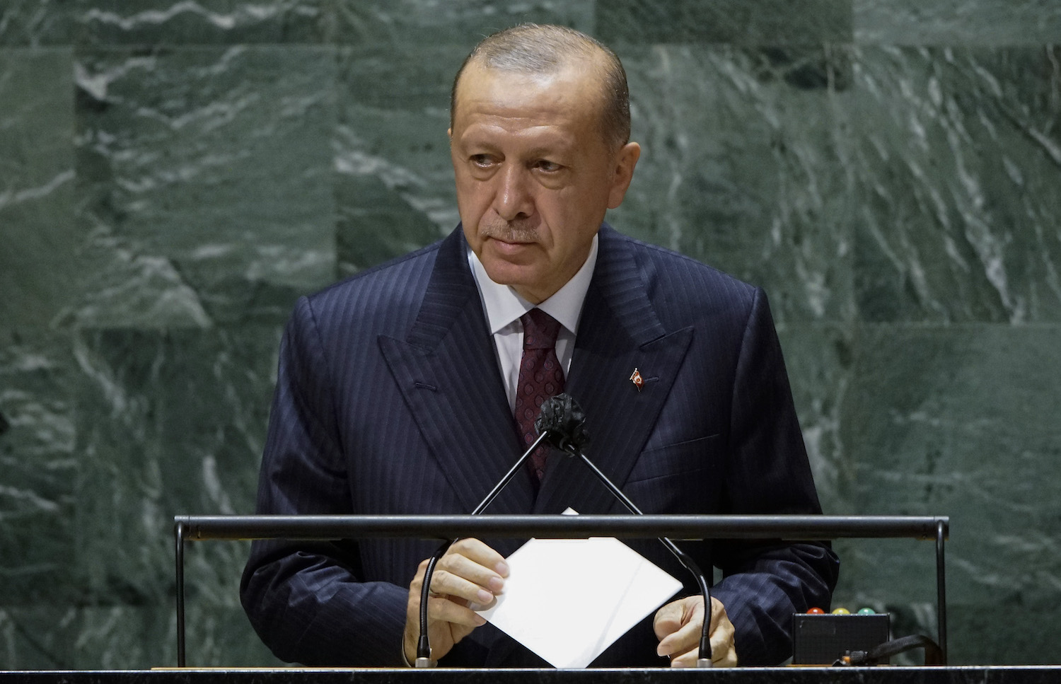 Turkish President Tayyip Erdogan addresses the 76th Session of the U.N. General Assembly in New York on Sept. 21.