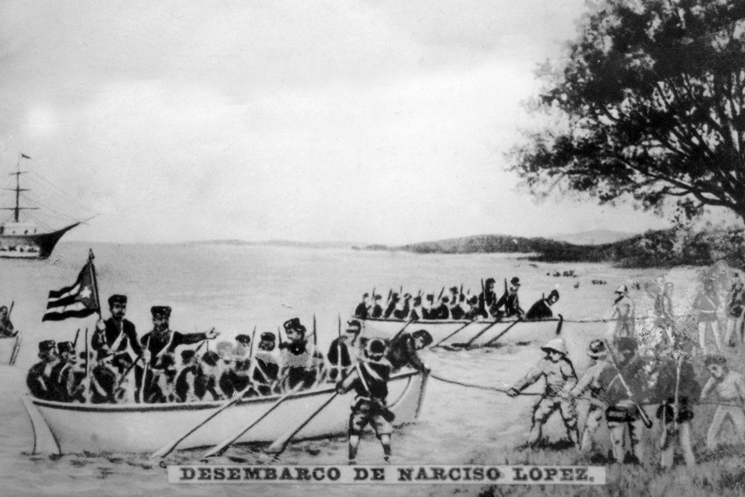 A cigar card from the history of Cuba shows the landing of Narciso López in Cardenas on May 19, 1850, as his men raise the flag of the lone star for the first time in Cuba.