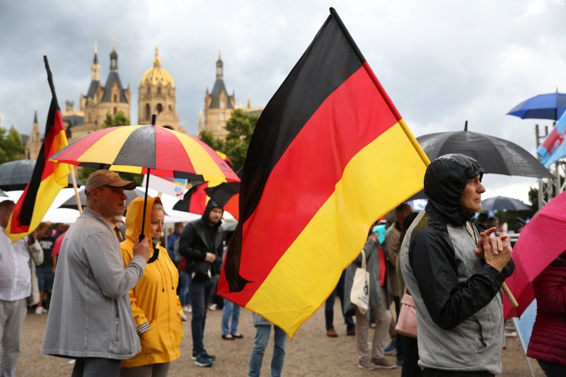 Supporters wave German flags.