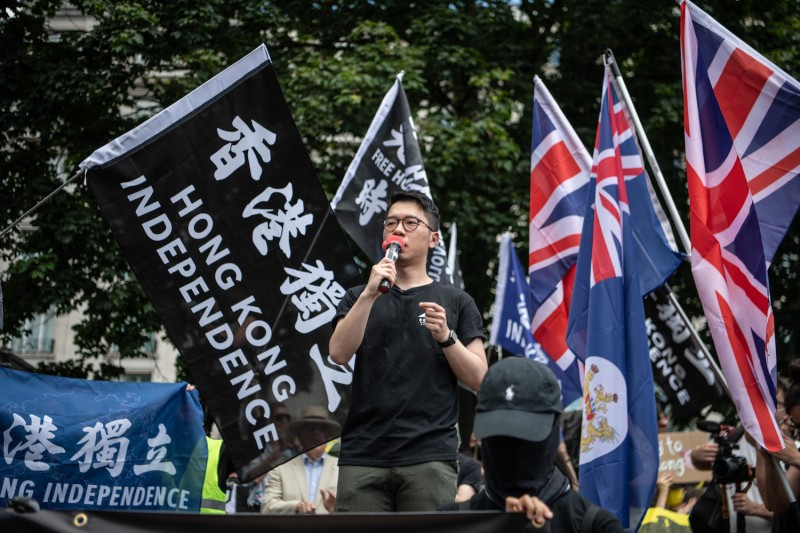 Former Hong Kong lawmaker Nathan Law, now in exile in the U.K., speaks at a rally for Hong Kong democracy at Marble Arch on June 12, 2021 in London.