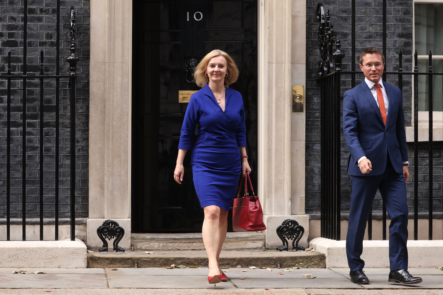 Liz Truss, recently appointed as the new U.K. foreign secretary leaves 10 Downing Street in London on Sept. 15.
