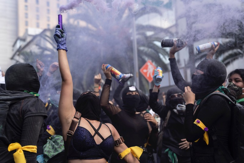 Protesters chant during a demonstration in favor of the decriminalization of abortion on the International Safe Abortion Day in Mexico City on Sept. 28, 2020.