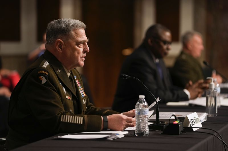 Chairman of the Joint Chiefs of Staff Mark Milley, Secretary of Defense Lloyd Austin, and Central Command chief Kenneth McKenzie