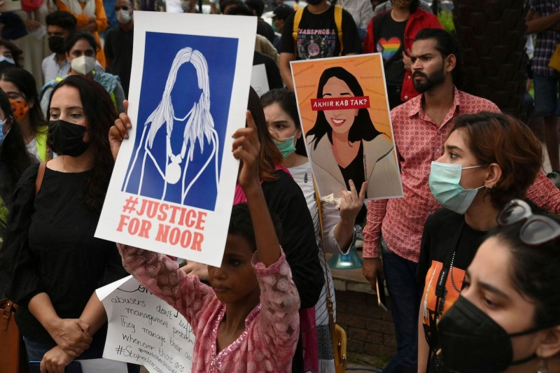 Women's rights activists protest the killing of Noor Mukadam.