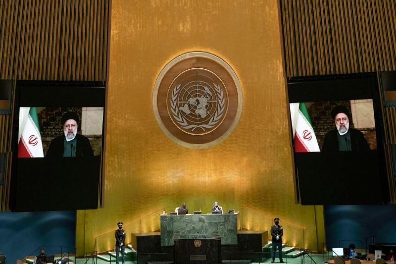 Iranian President Ebrahim Raisi remotely addresses the U.N.