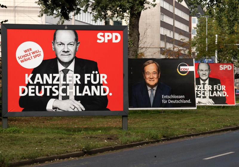 Election campaign billboards are seen in Germany.