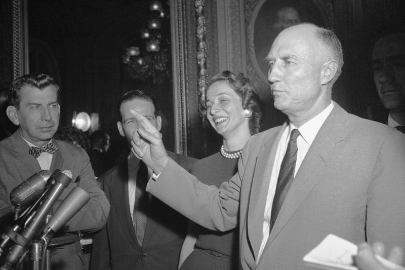 Then-U.S. Sen. Strom Thurmond of South Carolina is mobbed by reporters.