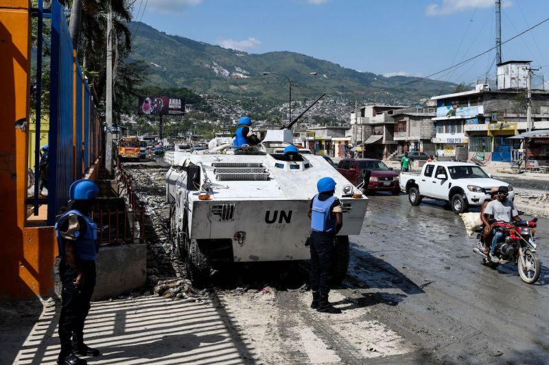 U.N. peacekeepers from Senegal patrol gang territory in an armored vehicle in Port-au-Prince, Haiti, on July 24, 2019.