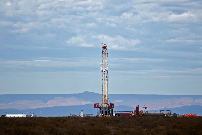 A view of a gas well drill at Campo Maripe—a field claimed by the Mapuche Indigenous community—in the Vaca Muerta Formation in Añelo, Argentina, on Nov. 27, 2019.