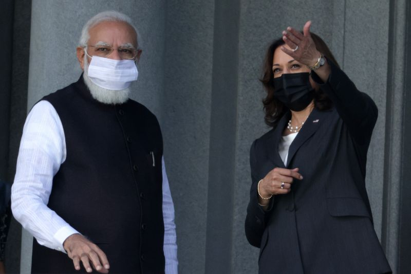 U.S. Vice President Kamala Harris and Indian Prime Minister Narendra Modi tour the Eisenhower Executive Office Building during a meeting in Washington on Sept. 23.