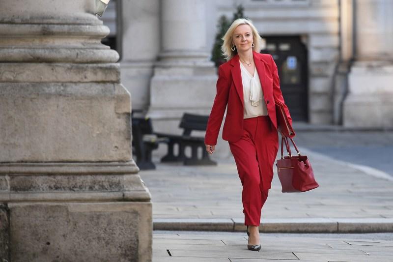 Elizabeth Truss arrives for a cabinet meeting.