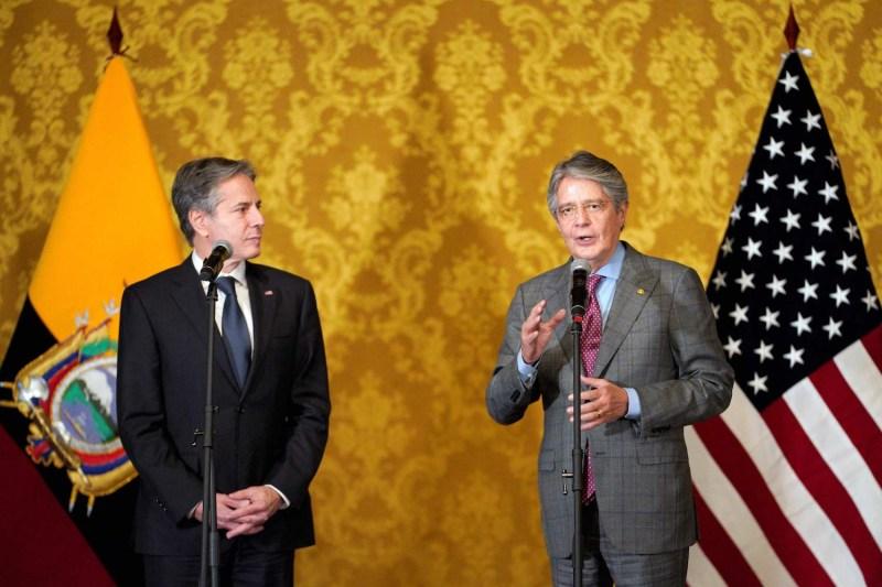Ecuador's President Guillermo Lasso speaks next to U.S. Secretary of State Antony Blinken