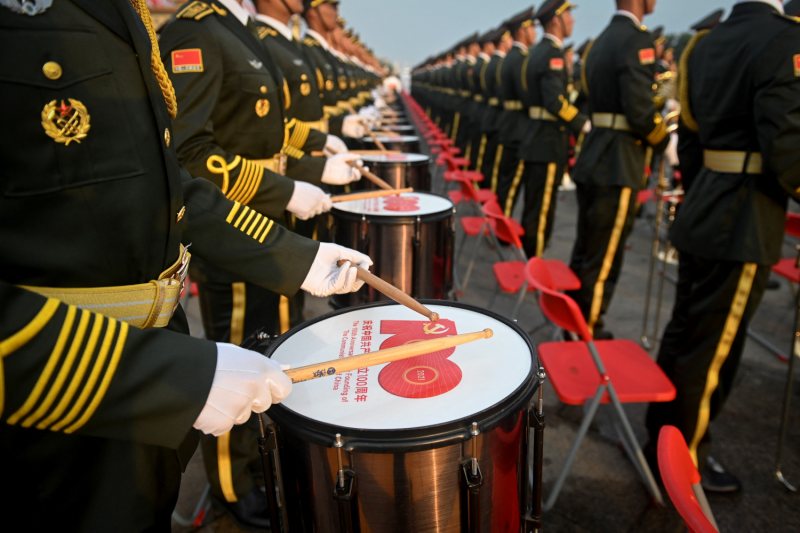 A Chinese military band prepares for celebrations.