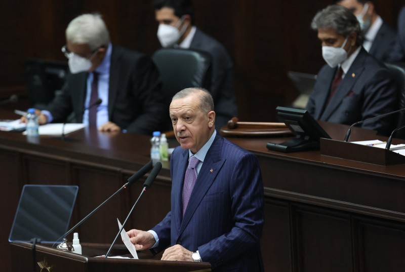 Turkish President Recep Tayyip Erdogan delivers a speech during the parliamentary group meeting of the AK Party at the Grand National Assembly of Turkey in Ankara, on October 27, 2021.