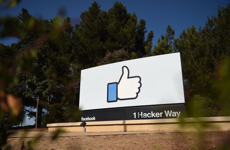 """The Facebook """"like"""" sign is seen at Facebook's corporate headquarters."""