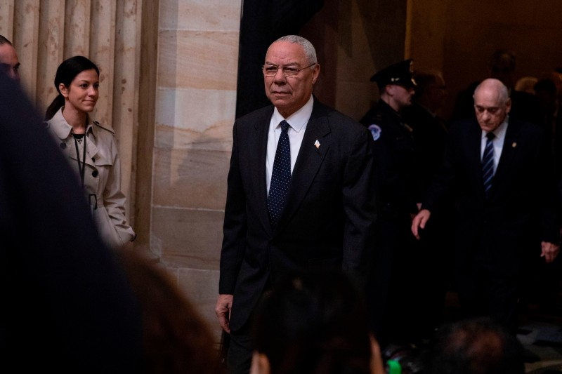 Former U.S. Secretary of State Colin Powell arrives to pay his respects as the remains of former U.S. President George H.W. Bush lie in state at the U.S. Capitol Rotunda in Washington on Dec. 4, 2018.