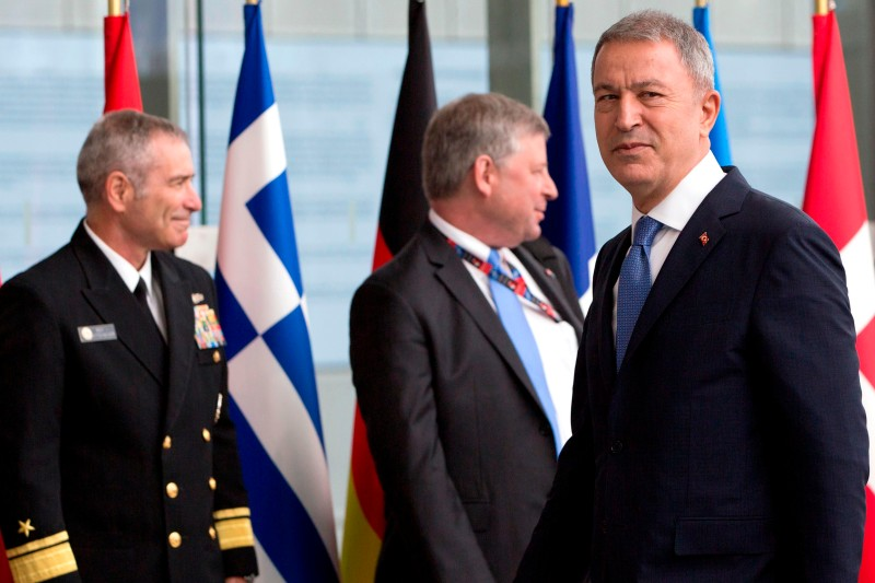 Turkey's Defense Minister Hulusi Akar looks on as he arrives for a meeting of NATO defense ministers at NATO headquarters in Brussels, on June 26, 2019.
