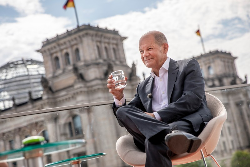 Olaf Scholz, chancellor candidate of the German Social Democratic Party (SPD), attends the annual ARD television summer interview with journalist Tina Hassel near the Reichstag on August 15, 2021 in Berlin.