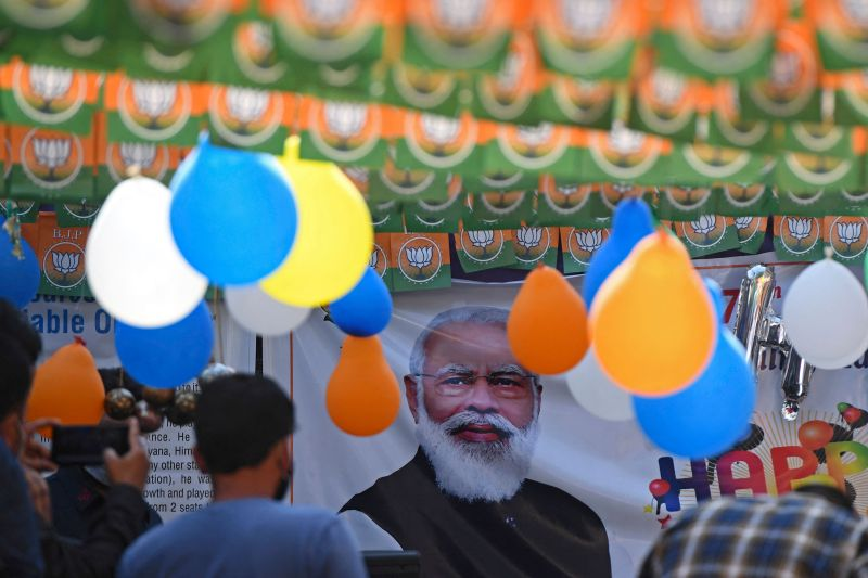 Bharatiya Janata Party workers gather to celebrate Indian Prime Minister Narendra Modi's 71st birthday in Srinagar, India, on Sept. 17.