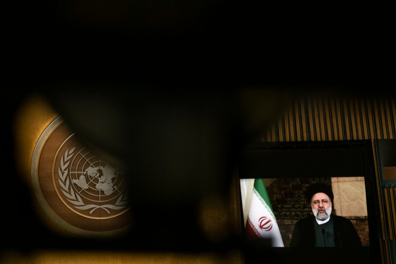 Iran's President's Ebrahim Raisi remotely addresses the 76th Session of the U.N. General Assembly on September 21, 2021 at U.N. headquarters in New York City.