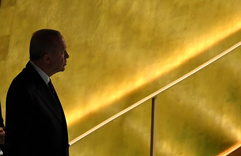 Turkish president Recep Tayyip Erdogan arrives to address the 76th Session of the UN General Assembly on September 21, 2021 in New York.