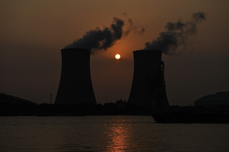 The Wujing coal-fired power plant is seen in Shanghai on Sept. 28. China is suffering record coal prices and power outages.