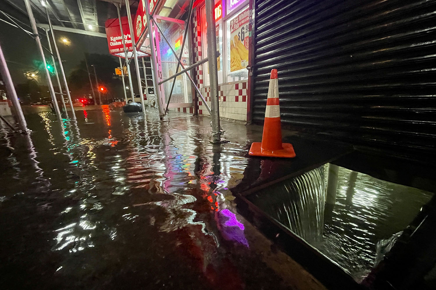 Rainfall from Hurricane Ida floods the basement of a local business in New York City on Sept. 1. David Dee Delgado/Getty Images