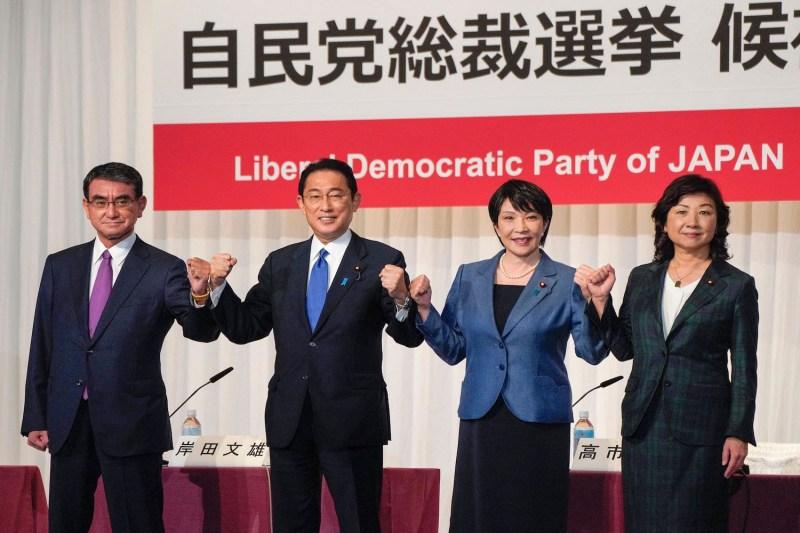 Taro Kono, Fumio Kishida, Sanae Takaichi, and Seiko Noda